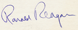 Photo of Ronald Reagan's autograph - San Pedro, CA 1960's